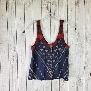 Free People Aztec Tank Button Up Small